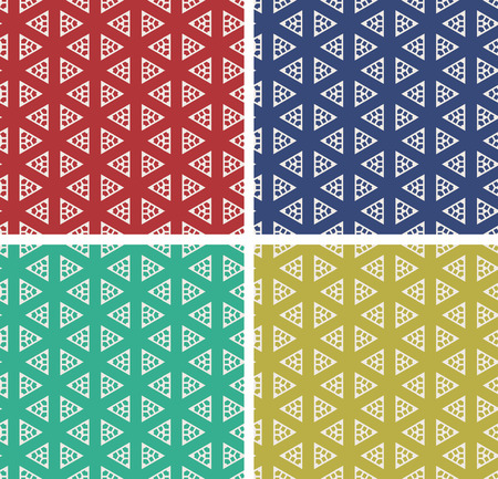 Repeating Pattern background. Set of 4 colorful geometric shapes background isolated on different colors Illustration
