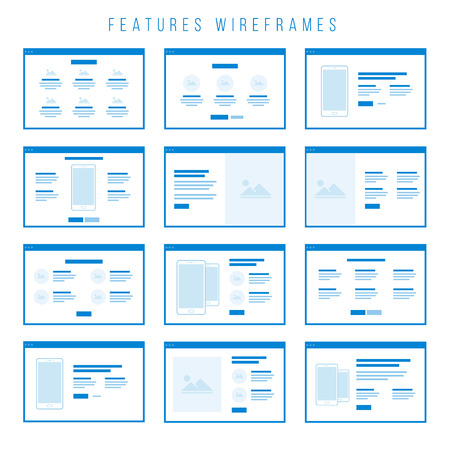 Features Wireframe components for prototypes. Illustration