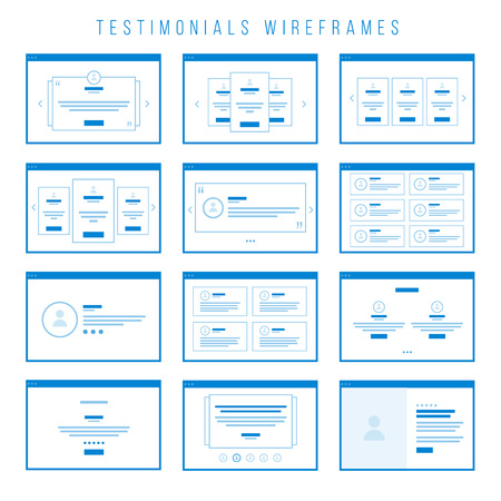 presentation screen: Testimonials Wireframe components for prototypes.