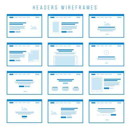 Headers Wireframe components for prototypes.