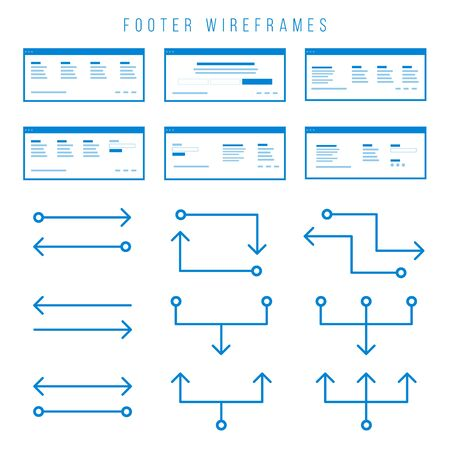 Footer Wireframe components for prototypes. Illustration