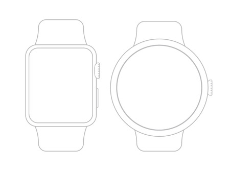 Vector wireframe smart watch on white surface.