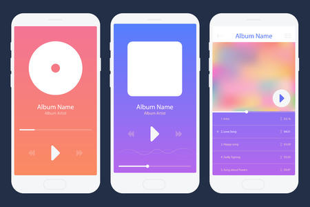 Mobile App Music Player Set. Different Variations