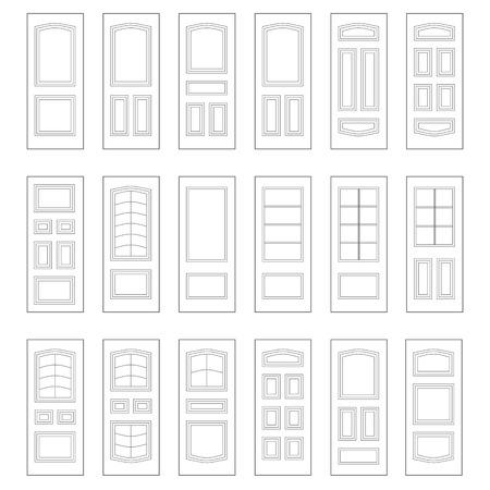 Big set of door ideas. Big set combination. Illustration