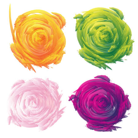 Set of abstract floral vector illustration on white background.