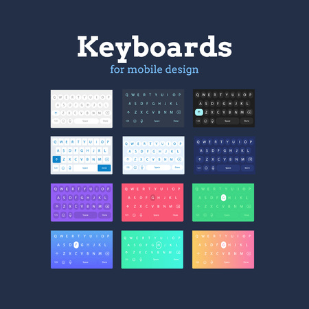 QWERTY mobile keyboards in different colors and styles. Illustration