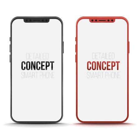 Set of conceptual smart phone. Vector mock up. Stock Photo