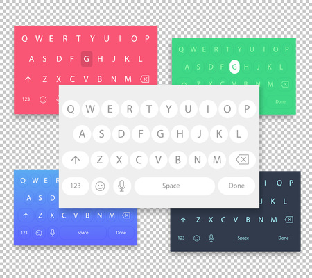 Set of vector QWERTY mobile keyboards for smart phone designs. Set of vector keyboards for the user interface to write text and messages on a mobile screen. Chat buttons to type.