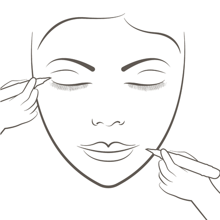 Attractive lady getting facial care and tattoo and permanent makeup tattoo.