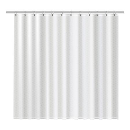 Las cortinas de ducha en blanco se burlan para mostrar su diseño. Ilustración de vector