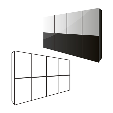 Sliding door wardrobe for bedroom or dressing room. Sliding doors wardrobe concept with closed and opened doors.