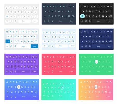Set of vector qwerty mobile keyboards. Vector keys. Illustration