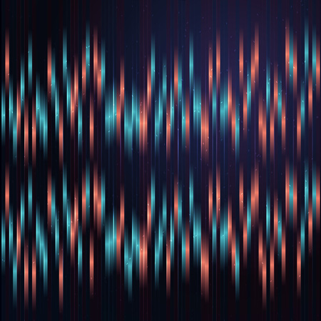 Anaglyph background with blue and red vertical lines.