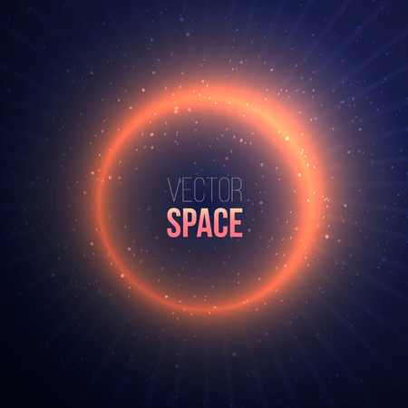 ray of light: Explosion with a space flare on dark background.