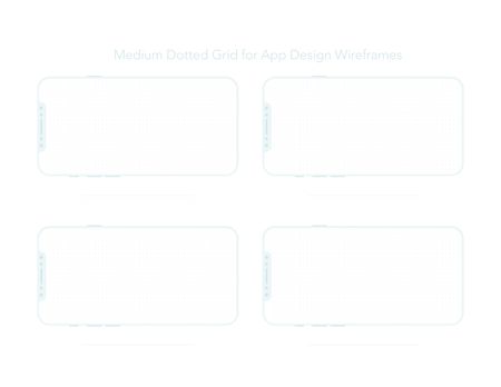 A4 Dotted Paper for App Designs mockups. Ready for printing and to start designing your mobile app design concepts. Vector mobile wireframe with new concept smart phone.
