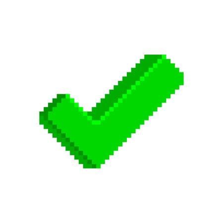 Green check mark icon in pixelated style. Vector retro icon isolated on white background. Retro game element. Approved.