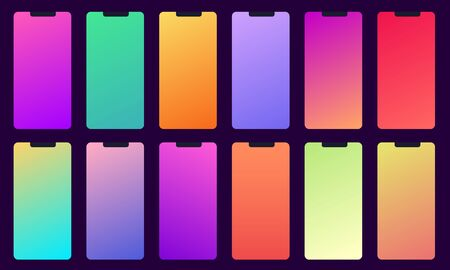Set of 12 color background with gradients. Used for mobile design applications. Trendy colors swatches palette.