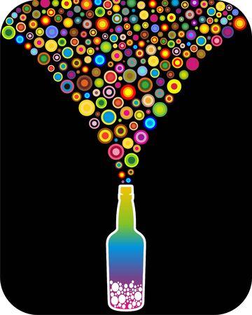 rainbow cocktail: Bottiglia con arcobaleno giri