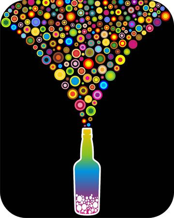 Bottle with rainbow rounds Illustration