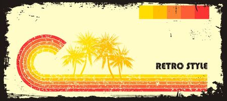 eroded: Retro style wave with palms