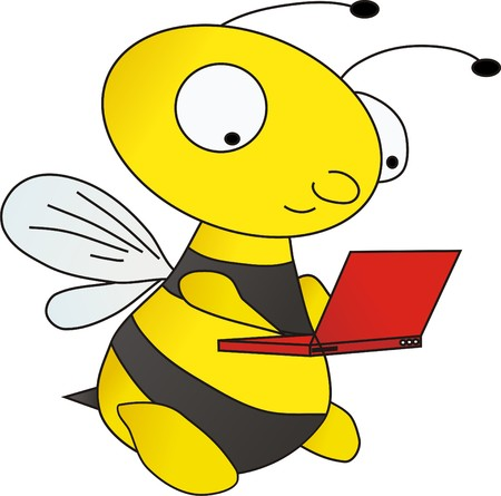 Bee with laptop