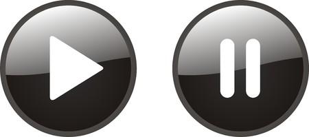botones musica: Jugar y hacer una pausa en bot�n  Vectores