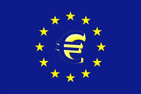 Euro flag and sign Vector