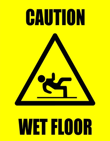 slippery warning symbol: Wet floor  Illustration