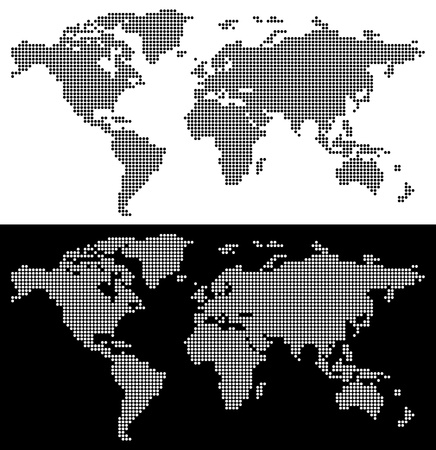 Dotted perspective world map Vector
