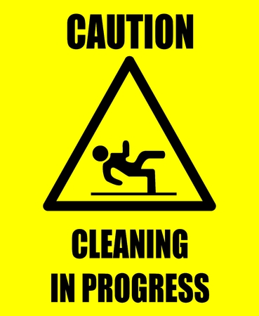 slippery warning symbol:  Caution cleaning