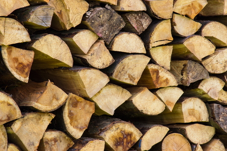 stocked: Woodpile stocked for the winter, Stock Photo