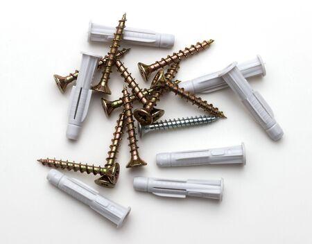 galvanized: wood screws isolated on a white background Stock Photo