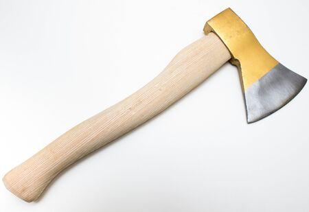 yellow wood axe isolated on white background Stock Photo