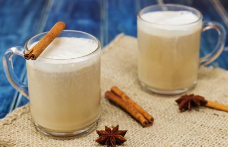 Chai latte spiced tea beverage in glass