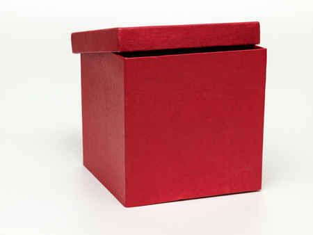 red paper box with lid Stock Photo
