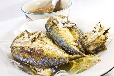 Thai food ,spicy shrimp paste and fried mackerel. Stock Photo