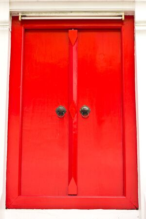 This is thai style Red door in thai temple. photo