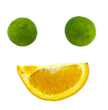 lime and orange with smiles  isolated on white background