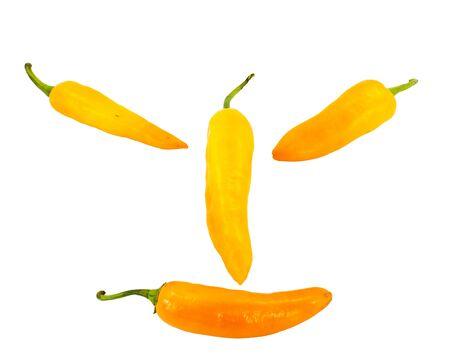 L�cheln Orange Chili-Pfeffer isoliert auf wei�