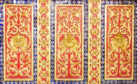 Thai style lion pattern design handcraft on wood