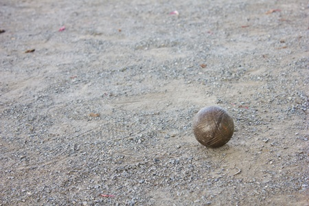 Petanque balls on the ground photo