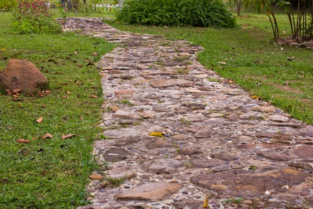 Stone pathway in the garden Stock Photo