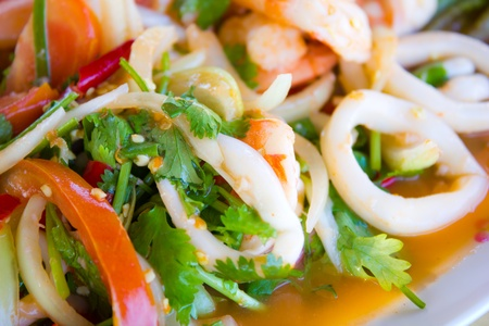 Seafood salad thai style Stock Photo