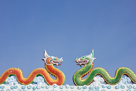 two dragon in blue sky Stock Photo
