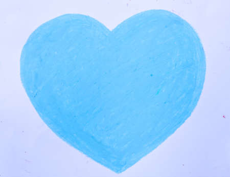 crayon drawing Blue heart. photo