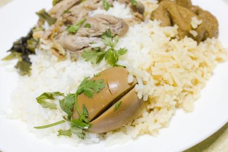 Pork leg with rice (Kao Ka Moo) Stock Photo