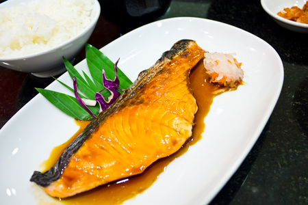 grill salmon teriyaki sauce Japanese photo