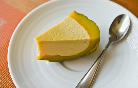 Thai dessert called Fakthong sangkaya,custard in pumpkin photo