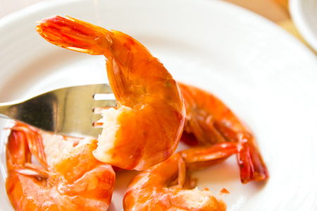 shrimps on the white plate