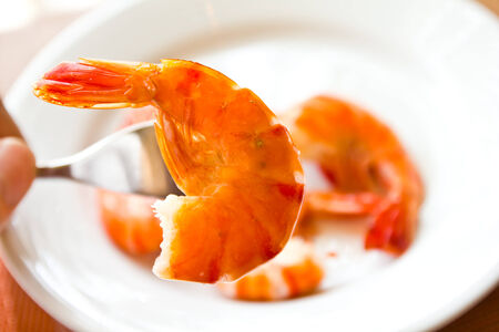 shrimps on the white plate photo